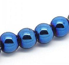Korálky - Hematitové korálky 8mm - modré - 5900863_