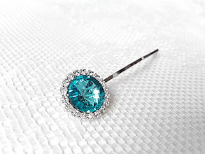 Ozdoby do vlasov - Turquoise hair pin (Swarovski crystal / Rhodium hair pin) - 5905441_