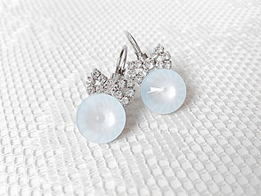 Náušnice - Pastel blue bows earrings (Rhodium earrings / Swarovski crystal) - 5906132_