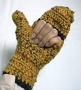 Rukavice - Horčicovo tweedové palčiaky - 5903747_