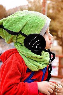 Detské súpravy - Wifi čiapka + nákrčník zelená - 5906820_