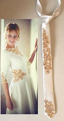 Doplnky - Kravata k šatám so zlatým ornamentom... - 5903339_