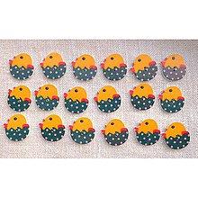 Galantéria - Drevený gombík  (Drevený gombík kuriatko žltomodré 5 ks) - 5904945_