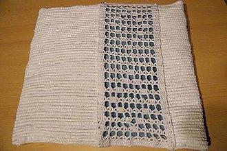 Úžitkový textil - Tkaná obliečka na vankúš s háčkovaním - 5905502_