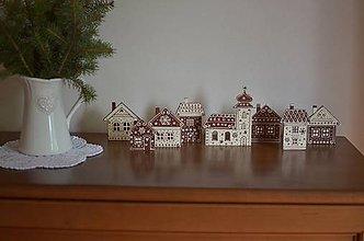 Dekorácie - Vianočná dedinka smotanovo hnedá - 5908866_