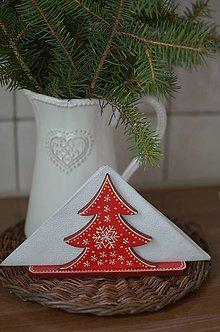 Dekorácie - Červený stromčekový stojan na servítky - 5911482_