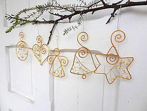 Dekorácie - zlaté vianoce z drôtu....sada - 5911338_