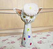Socha - Mačka a baretka -- keramika - 5913160_