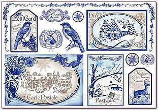 Papier - ryžový papier Vintage zima - 5913861_