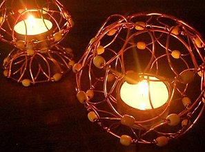 Svietidlá a sviečky - Drôtený stojan na čajovú sviečku - 5915455_