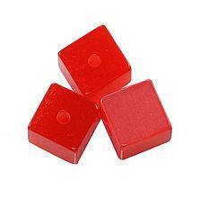 Korálky - Živicová kocka, červená /5ks - 5916785_
