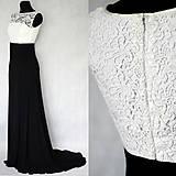 Šaty - Spoločenské šaty z elastického úpletu a hrubej krajky - 5916406_