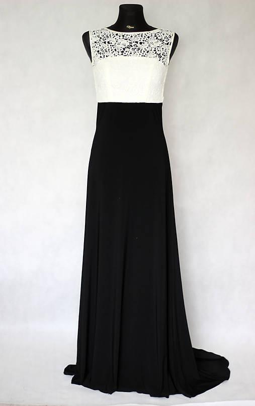 Spoločenské šaty z elastického úpletu a hrubej krajky   Dyona ... 865fc28568