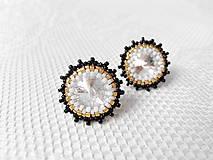 Náušnice - Chanelky (Rhodium earrings / Swarovski crystal) - 5922393_
