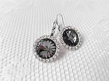 Náušnice - Grey primadonna earrings (Rhodium earrings / Swarovski crystal) - 5922415_