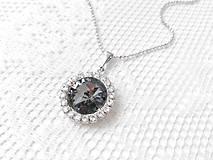Náhrdelníky - Grey primadonna necklace (Rhodium necklace / Swarovski crystal) - 5922459_