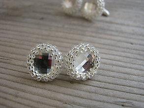 Náušnice - Puzetové náušnice -Crystal/Silver lined crystal - 5920907_