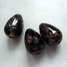 Korálky - Kvapka plast 15x10mm-1ks (čierna) - 5919652_