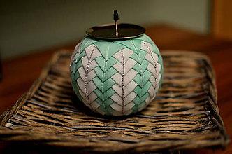 Svietidlá a sviečky - Vianočný svietnik light green - 5922483_