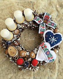 Dekorácie - Slovenské Vianoce {Folk adventný veniec} - 5923305_