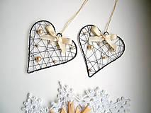 Dekorácie - srdiečko s perličkami- vianoce - 5928765_