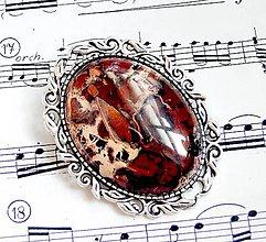 Odznaky/Brošne - Poppy Variscite & Pyrite Brooch - 5927528_