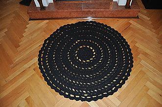 Úžitkový textil - Čierny háčkovaný koberec - 5926850_