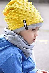 Detské čiapky - Zimná čiapka Minky Yellow (bez BAMBULE) - 5926802_