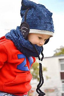 Detské čiapky - Wifi čiapka + nákrčník Navy - 5930549_