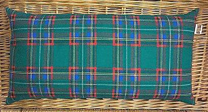 Úžitkový textil - FILKI šupkový vankúš na spanie 50 cm (zelené káro 25 cm šírka) - 5926264_