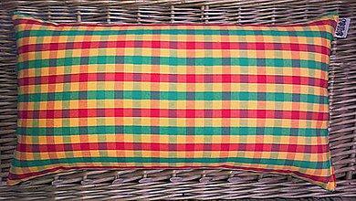 Úžitkový textil - FILKI šupkový vankúš na spanie 45 cm (kockovaný oranžový kanafas) - 5926265_