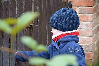 Detské doplnky - Zimný nákrčník ... červeno-biely - 5931238_