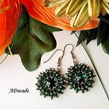 Náušnice - Korálkové náušnice Smaragdové oko - 5931391_