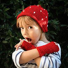 Čiapky - Detský bodkovaný set ... čiapka / rukavičky - 5932949_