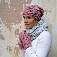 Čiapky - pink grey kulichová - 5934705_