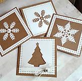 Papiernictvo - snehové perníčkové vianočné pozdravy - 5 ks - 5933468_