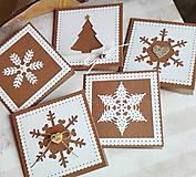 Papiernictvo - snehové perníčkové vianočné pozdravy - 5 ks - 5933470_