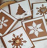 Papiernictvo - snehové perníčkové vianočné pozdravy - 5 ks - 5933471_