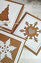 Papiernictvo - snehové perníčkové vianočné pozdravy - 5 ks - 5933472_