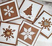 Papiernictvo - snehové perníčkové vianočné pozdravy - 5 ks - 5933473_