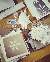 Papiernictvo - snehové perníčkové vianočné pozdravy - 5 ks - 5934048_