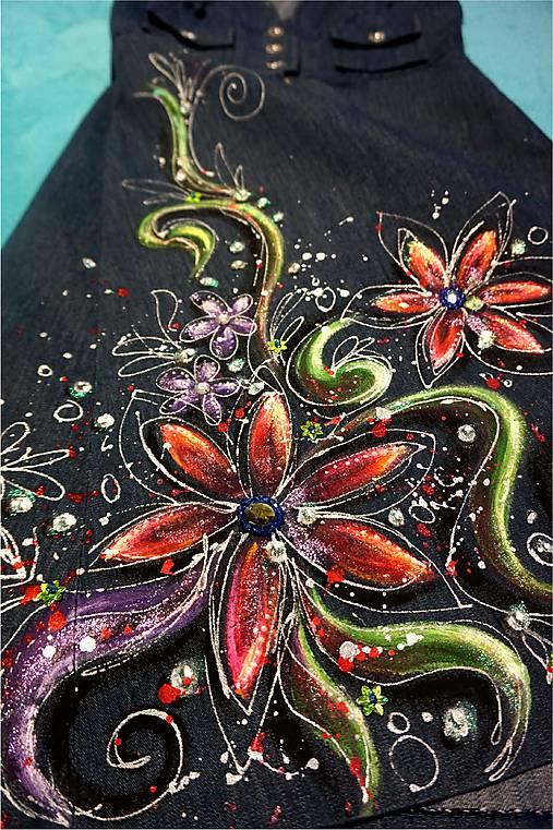 Rozkvitnuté - maľba na riflových šatách   zeiko - SAShE.sk ... 17907932204