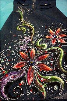 Šaty - rozkvitnuté - maľba na riflových šatách - 5939348_