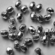 Korálky - Plast fazet-platina-50ks - 5935362_