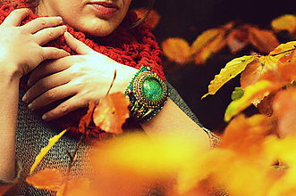 Náramky - Autumn theme n.6- Shibori ribbon bracelet - 5935825_