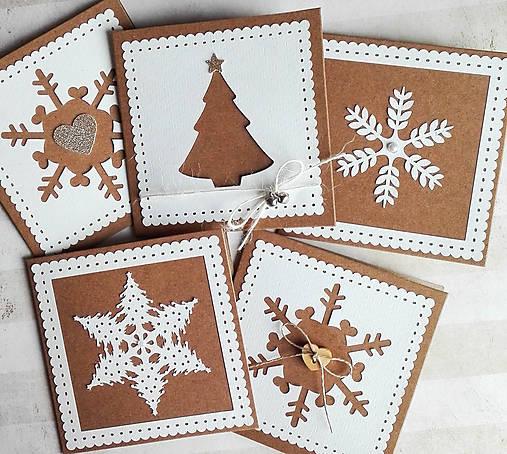 snehové perníčkové vianočné pozdravy - 5 ks