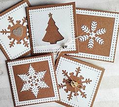 Papiernictvo - snehové perníčkové vianočné pozdravy - 5 ks - 5939594_
