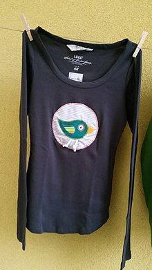 Tričká - Pískacie tričko s vtáčikom - 5939071_