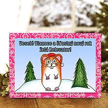 Papiernictvo - Zvieracie Vianoce - vianočná pohľadnica so škrečkom (ornamentová) - 5935404_