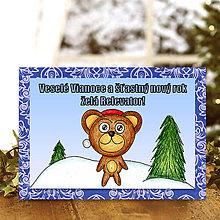 Papiernictvo - Zvieracie Vianoce - vianočná pohľadnica s mackom (ornamentová) - 5935406_
